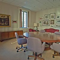 A painting depicting the founding of the National Geographic Society adorns the wall of a meeting room in the old headquarters building in Washington, DC.