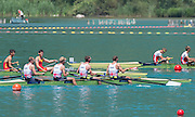 Aiguebelette, FRANCE. GBR LM4-. Bow. Peter CHAMBERS, Mark ALDRED, Richard CHAMBERS and Chris BARTLEY. relax after qualifing through their semi final at Sat afternoon semi-finals at the   2014 FISA World Cup II, 14:30:56  Saturday  21/06/2014. [Mandatory Credit; Peter Spurrier/Intersport-images]
