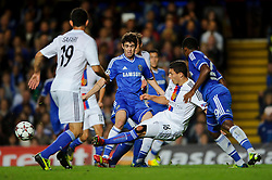 A break by Chelsea Midfielder Oscar (BRA) is blocked by Basel Defender Fabian Schar (SUI) during the first half of the match - Photo mandatory by-line: Rogan Thomson/JMP - Tel: 07966 386802 - 18/09/2013 - SPORT - FOOTBALL - Stamford Bridge, London - Chelsea v FC Basel - UEFA Champions League Group E