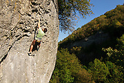 John Coefield on Hungry Eyes, 7a+, Chee Dale