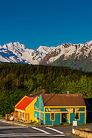 Street scene, Haines, Alaska USA.  Haines is surrounded by mountains and water. Rising high above the town are the Takinsha Mountains and Chilkat Range to the south, Takshanuk Mountains to the north and Coast Mountains to the east across the Lynn Canal.
