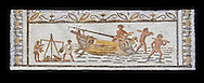 Late 4th century AD Roman mosaic depiction a harbour scene with men unloading and weighing goods. From Cathage, Tunisia.  The Bardo Museum, Tunis, Tunisia. Black background .<br /> <br /> If you prefer to buy from our ALAMY PHOTO LIBRARY  Collection visit : https://www.alamy.com/portfolio/paul-williams-funkystock/roman-mosaic.html - Type -   Bardo    - into the LOWER SEARCH WITHIN GALLERY box. Refine search by adding background colour, place, museum etc<br /> <br /> Visit our ROMAN MOSAIC PHOTO COLLECTIONS for more photos to download  as wall art prints https://funkystock.photoshelter.com/gallery-collection/Roman-Mosaics-Art-Pictures-Images/C0000LcfNel7FpLI