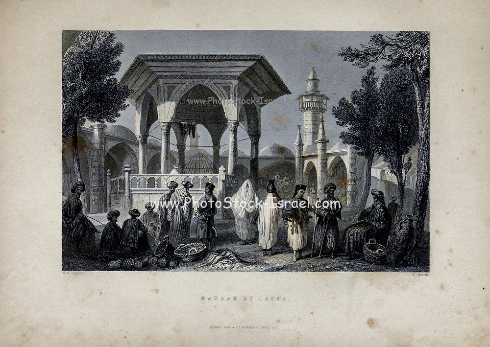 Bazaar in Jaffa 1837 from Volume 2 of Syria, the Holy Land, Asia Minor, &c. by Carne, John, 1789-1844; Illustrated by Bartlett, W. H. (William Henry), 1809-1854, and Allom, Thomas, 1804-1872 Published in London in 1837