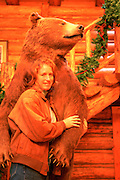 Woman with bear, Flathead Valley, Montanta, USA<br />
