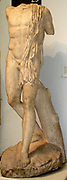 The hero Protesilaos, the first Greek warrior to land at Troy.  Roman version of a Greek original dating to about 460-450 BC.  Found at Kyzikos, north west Turkey.  The figure strides along a ship's prow.  The head, now lost, was helmeted and the man held a spear in his raised right arm.  There is a wound in his right armpit, just visible at the point where the arm has broken off - a reminder that Protesilaos was killed as his feet touched Asiatic soil.