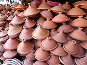 Tagine traditional Moroccan earthenware pot are sold in the markets around Morocco
