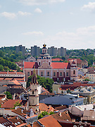 High-angle view of Vilnius from the Vilnius University bell tower, in Senamiestyje/Old Town, Vilnius, Lithuania