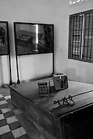 Original waterboard used to torture prisoners. Displayed in Building D at Tuol Sleng Genocide Museum in Phnom Penh, Cambodia