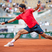 PARIS, FRANCE June 3. Roger Federer of Switzerland in action against Marin Cilic of Croatia on Court Philippe-Chatrier during the second round of the singles competition at the 2021 French Open Tennis Tournament at Roland Garros on June 3rd 2021 in Paris, France. (Photo by Tim Clayton/Corbis via Getty Images)