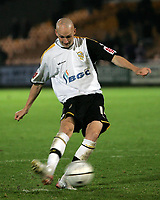 Photo: Paul Thomas.<br /> Port Vale v Norwich City. Carling Cup. 24/10/2006.<br /> <br /> Danny Whitaker scores for Vale during the penalty shoot out.