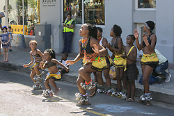 CAPE TOWN, Jan. 28, 2019  Children dance on a street free from vehicles in Cape Town, South Africa, Jan. 27, 2019, on the occasion of the Open Streets Day. Thousands of people on Sunday took part in activities on the Open Streets Day when people were encouraged to leave their cars at home and join others to experience the streets differently. (Credit Image: © Linda Yee/Xinhua via ZUMA Wire)