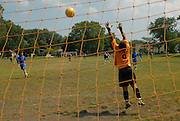 Deportivo Colomex' second goal is scored against Team Shlama during National Soccer League play in Skokie, Il.