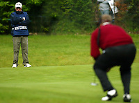 Photograph: Scott Heavey<br />Volvo PGA Championship At Wentworth Club. 23/05/2003.<br />Colin Montgomerie with newly aquired caddie Stevie Rawlinson.
