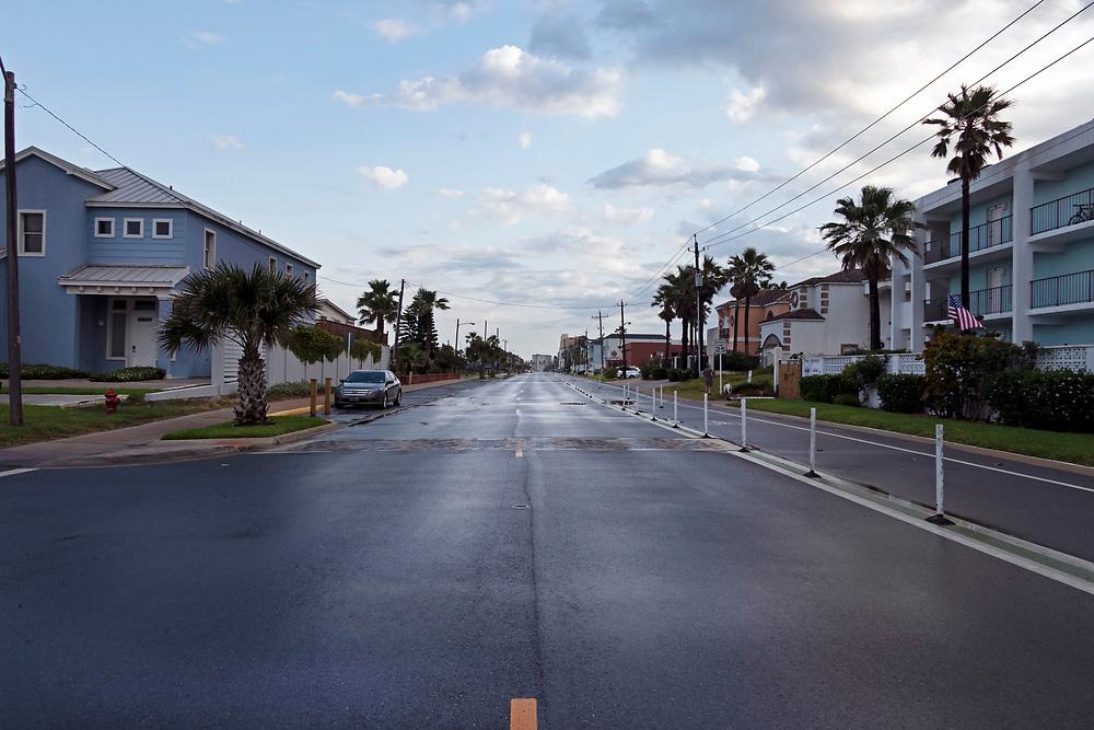 Out of season, empty streets, South Padre Island, Texas, USA