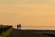 Wandelaars over de Waddenzeedijk bij Zwarte Haan.