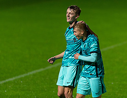 LONDON, ENGLAND - Friday, October 30, 2020: Liverpool's Tom Clayton (L) celebrates after scoring the only goal of the game during the Premier League 2 Division 1 match between Arsenal FC Under-23's and Liverpool FC Under-23's at Meadow Park. Liverpool won 1-0. (Pic by David Rawcliffe/Propaganda)