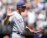 CHICAGO - JULY 02:  Manager Jeff Banister #28 of the Texas Rangers argues a call during the game against the Chicago White Sox on July 2, 2017 at Guaranteed Rate Field in Chicago, Illinois.  The White Sox defeated the Rangers 6-5.  (Photo by Ron Vesely) Subject:   Jeff Banister
