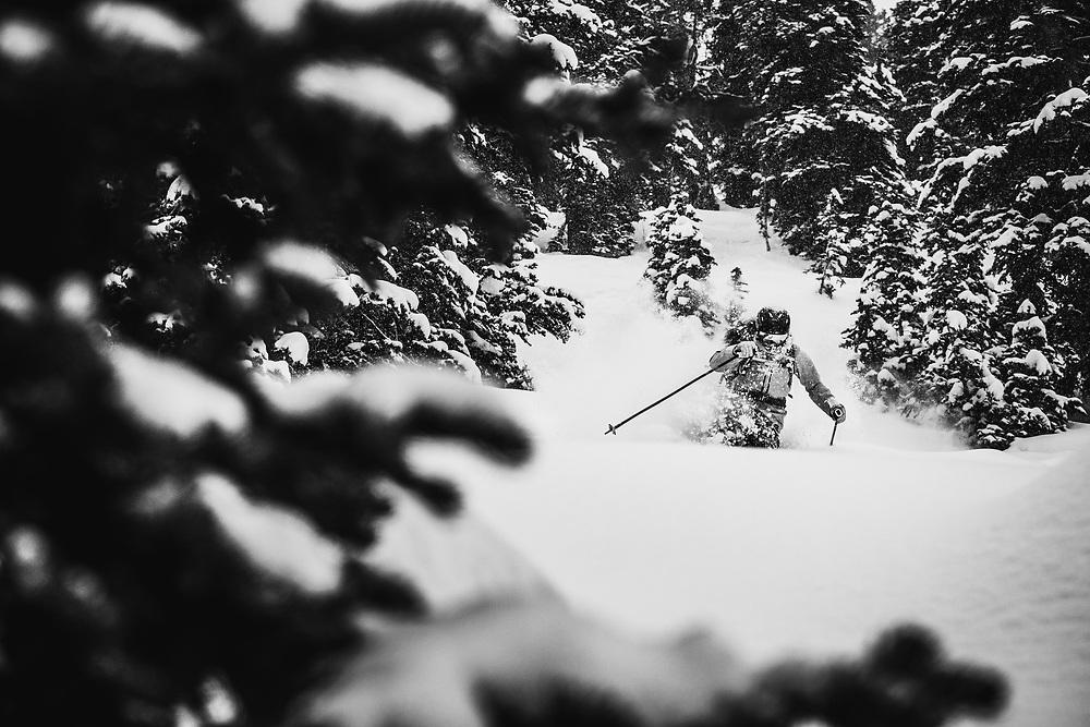 Storm skiing with Kaylin Richardson, Alta Ski Area, Utah.