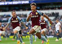 Football - 2021 / 2022 Premier League - Tottenham Hotspur vs Aston Villa - Tottenham Hotspur Stadium - Sunday 3rd October 2021<br /> <br /> Ollie Watkins (Aston Villa) runs off in celebration after scoring <br /> <br /> COLORSPORT/DANIEL BEARHAM