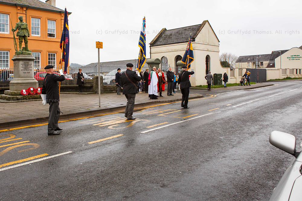 """Carmarthen, Carmarthenshire, Wales, UK. 8 November, 2020.<br /> Due to Covid-19 """"fire break"""" restrictions, a scaled-back Remembrance Day parade in Carmarthen, Carmarthenshire, west Wales.<br /> Credit: Gruffydd Ll. Thomas"""