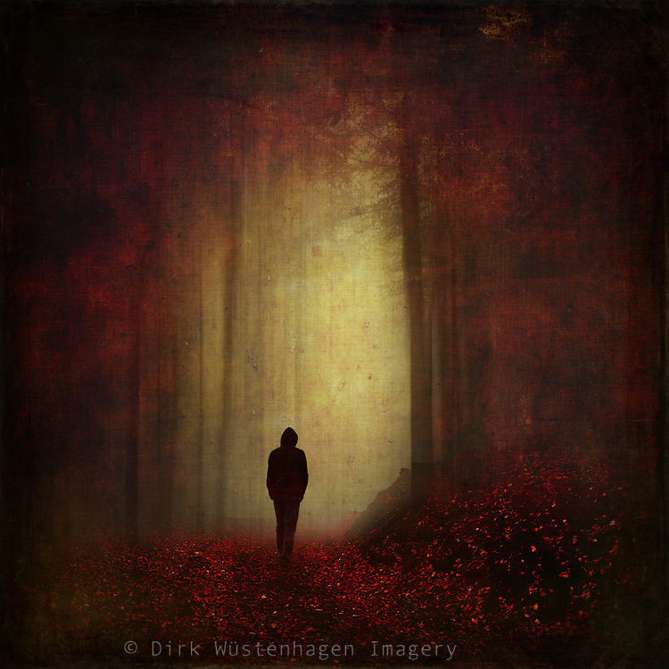 Abstract forest scenery with a man on a forest hike