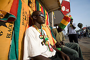 Vendor in Ghana flag store on the streets of Accra, Ghana.