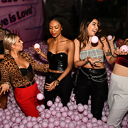 Lilly Douse, Frankie Maddin, Tonique Campbell, Claudia Sowaha and Chloe Adlerstein attend Bachelor girls wrap party after Channel 5 serial of The Bachelor girls 2019 UK  17 desperate female complete to win Alex Marks. Five Eliminated girls continues enjoy the single life party at Balle Ballerson in fact, in the UK there are 1.1 millions female more than male on 27 March 2019, London, UK.