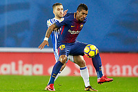 Real Sociedad's Kevin Rodrigues (l) and FC Barcelona's Paulinho during La Liga match. January 14,2018. (ALTERPHOTOS/Acero)