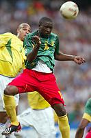 FOOTBALL - CONFEDERATIONS CUP 2003 - GROUP B - 030619 - BRASIL V KAMERUN - LUCIEN METTOMO (CAM) / - PHOTO STEPHANE MANTEY / DIGITALSPORT *** Local Caption *** 40000724