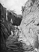 World War I 1914-1918.  Dead German soldiers in  a trench. From 'Le Pays de France, 12 August 1915.