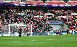 North Ferriby's Adam Nicklin saves the final penalty from Wrexham's Steve Tomassen to give North Ferriby United victory in the FA Trophy Final - Photo mandatory by-line: Paul Knight/JMP - Mobile: 07966 386802 - 29/03/2015 - SPORT - Football - London - Wembley Stadium - North Ferriby United v Wrexham - FA Trophy