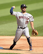 CHICAGO - AUGUST 13:  Jose Altuve #27 of the Houston Astros fields against the Chicago White Sox during the first game of a doubleheader on August 13, 2019 at Guaranteed Rate Field in Chicago, Illinois.  (Photo by Ron Vesely)  Subject:   Jose Altuve