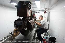 Dave Holzerland working on his 1935 Indian Four in his trailer during Stage 6 of the Motorcycle Cannonball Cross-Country Endurance Run, which on this day ran from Cape Girardeau to Sedalia, MO., USA. Wednesday, September 10, 2014.  Photography ©2014 Michael Lichter.