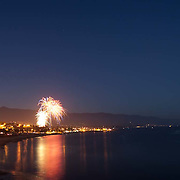 4th. of July fireworks from the beach.<br /> Santa Barbara, CA.