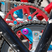 Colorful bicycle chainrings. Bike-tography by Martha Retallick.