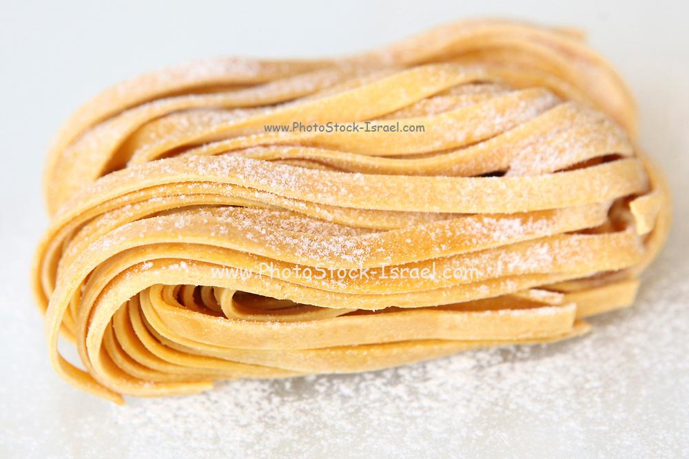 Linguine egg pasta on white background