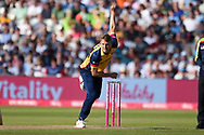 Jamie Porter of Essex Eagles bowling during the Vitality T20 Finals Day 2019 match between Derbyshire Falcons and Essex Eagles at Edgbaston, Birmingham, United Kingdom on 21 September 2019.