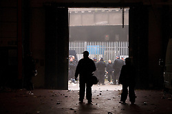 © Licensed to London News Pictures. 01/11/2015. London, UK. Police examine the inside of the rave venue. The scene where Riot police clashed with party goers at the site of an illegal halloween rave in London where it has been reported that a petrol bomb was thrown. Photo credit: Ben Cawthra/LNP