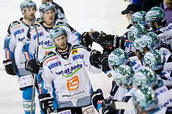 Gregor Baumgartner (EHC Liwest Linz, #79) celebrates with teammates during ice-hockey match between HDD Tilia Olimpija and EHC Liwest Black Wings Linz at fourth match in Semifinal  of EBEL league, on March 13, 2012 at Hala Tivoli, Ljubljana, Slovenia. (Photo By Matic Klansek Velej / Sportida)