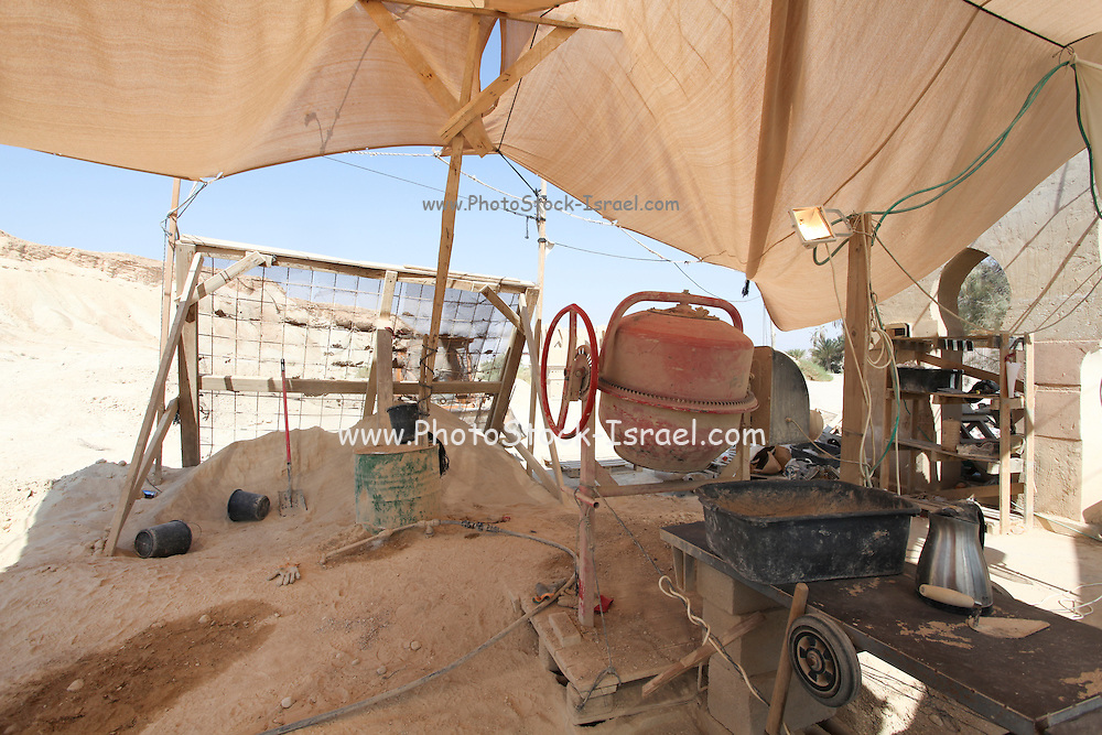 small ecological Contraction site utelizing local matrial to construct houses. Photographed in the Aravah desert, Israel