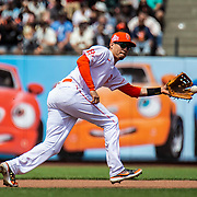 July 11 2021 San Francisco CA, U.S.A.  San Francisco Giants second baseman Wilmer Flores (41) reacts to an infield play during the MLB game between the Washington Nationals and the San Francisco Giants, Giants won 3-1 at Oracle Park San Francisco Calif. Thurman James / CSM