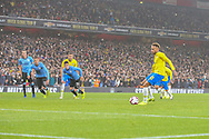 Brazil forward Neymar Jr (10) scores a goal after taking a penalty kick during the Friendly International match between Brazil and Uruguay at the Emirates Stadium, London, England on 16 November 2018.