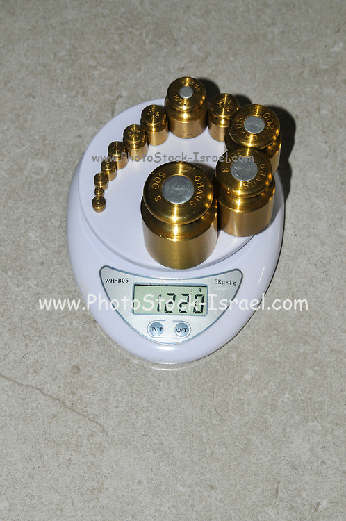 Precision weights of different value and a digital scale