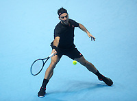 Tennis - 2019 Nitto ATP Finals at The O2 - Day Three<br /> <br /> Singles Group Bjorn Borg: Roger Federer (Switzerland) vs. Matteo Berrettini (Italy)<br /> <br /> Roger Federer <br /> <br /> COLORSPORT/ANDREW COWIE