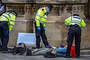 Police talk to Extinction Rebellion activists who glued themselves in front of the Peers Gate, outside Westminster Palace of the Houses of Parliament on Thursday, Sept 3, 2020. Environmental non-violent activists group Extinction Rebellion enters its 3rd day of continuous ten days to disrupt political institutions throughout peaceful actions swarming central London into a standoff, demanding that central government obeys and delivers Climate Emergency bill.