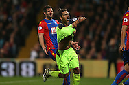 Roberto Firmino of Liverpool celebrates after scoring his sides 4th goal to make it 2-4 .  Premier League match, Crystal Palace v Liverpool at Selhurst Park in London on Saturday 29th October 2016.<br /> pic by John Patrick Fletcher, Andrew Orchard sports photography.