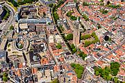 Nederland, Utrecht, Amersfoort, 29-05-2019; overzicht van binnenstad Amersfoort met  Onze Lieve Vrouwentoren (bijnaam Lange Jan).<br /> Overview of city center Amersfoort with the city ring. Above the streets the Onze Lieve Vrouwe tower.<br /> luchtfoto (toeslag op standard tarieven);<br /> aerial photo (additional fee required);<br /> copyright foto/photo Siebe Swart
