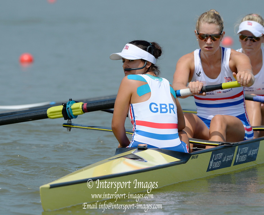 Chungju, South Korea.  GBR W8+.  Oliva CARNEGIE-BROWN and cox Zoe DE TOLEDO, at the start on the second day of the 2013 FISA World Rowing Championships, Tangeum Lake International Regatta Course. 03:38:05  Monday  26/08/2013 [Mandatory Credit. Peter Spurrier/Intersport Images]