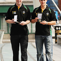 8 July 2008; Clare hurling captain Brian OíConnell, right, and Armagh full-forward Ronan Clarke with their Opel Gaelic Player of the Month Awards for June. Opel GPA Player of the Month Awards, James Joyce Bridge, Dublin. Picture credit: Ray McManus / SPORTSFILE *** NO REPRODUCTION FEE ***