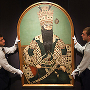 London October 2nd  Art of the Islamic World  photocall at Sotheby for the auction  on 7th |October 2009 .  A portrait of Fath Ali Shah Qajar  estimated around £350,000...***Standard Licence  Fee's Apply To All Image Use***.Marco Secchi /Xianpix. tel +44 (0) 845 050 6211. e-mail ms@msecchi.com or sales@xianpix.com.www.marcosecchi.com